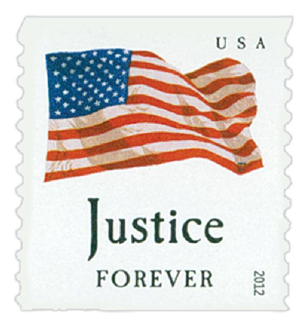 "2012 First-Class Forever Stamp - Flag and ""Justice"" (Sennett Security Products)"