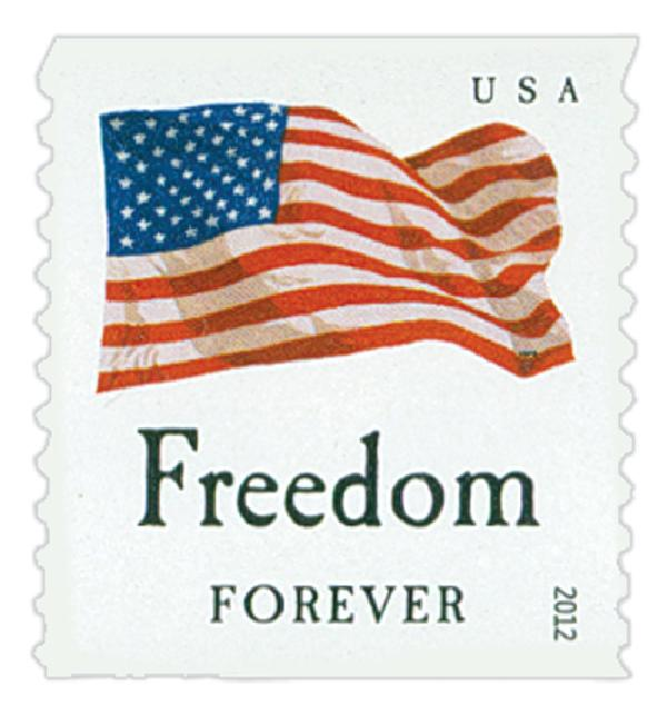 "2012 First-Class Forever Stamp - Flag and ""Freedom"" (Sennett Security Products)"