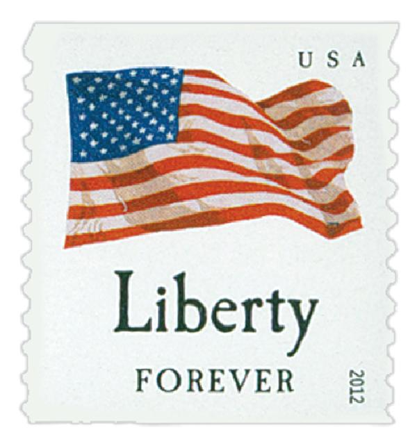 "2012 First-Class Forever Stamp - Flag and ""Liberty"" (Sennett Security Products)"
