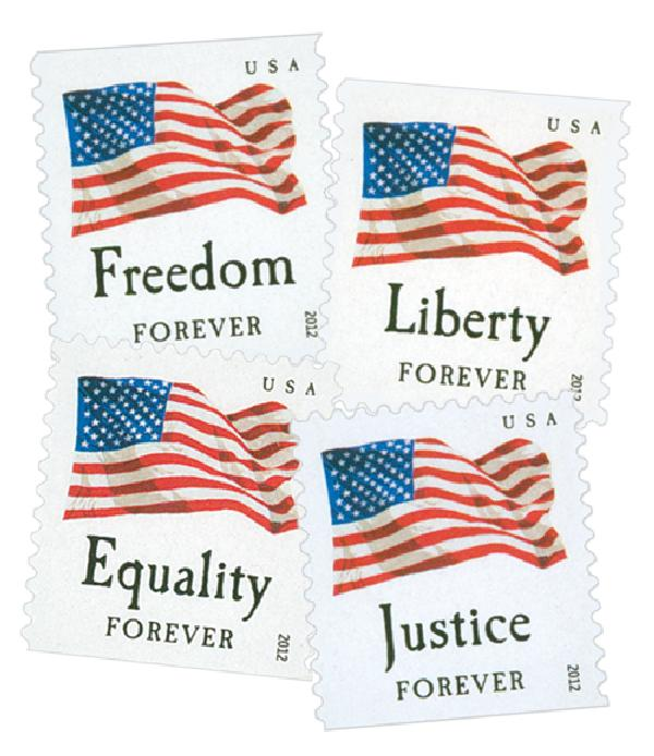 2012 First-Class Forever Stamp - U.S. Flags: Equality, Justice, Freedom and Liberty (Ashton Potter, booklet)