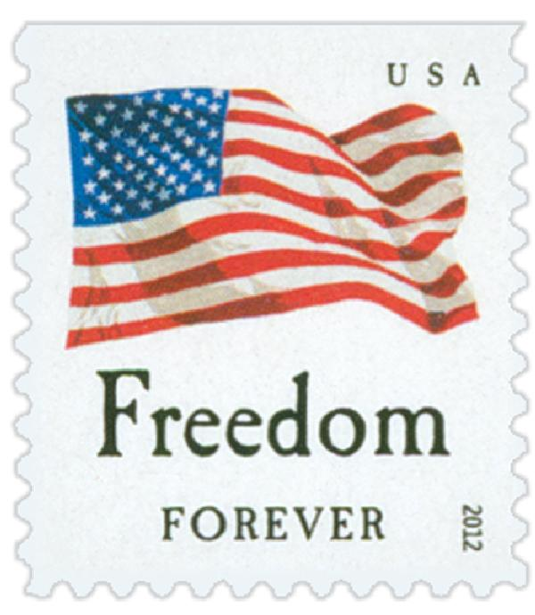 "2012 First-Class Forever Stamp - Flag and ""Freedom"" with Colored Dots in Star (Ashton Potter)"