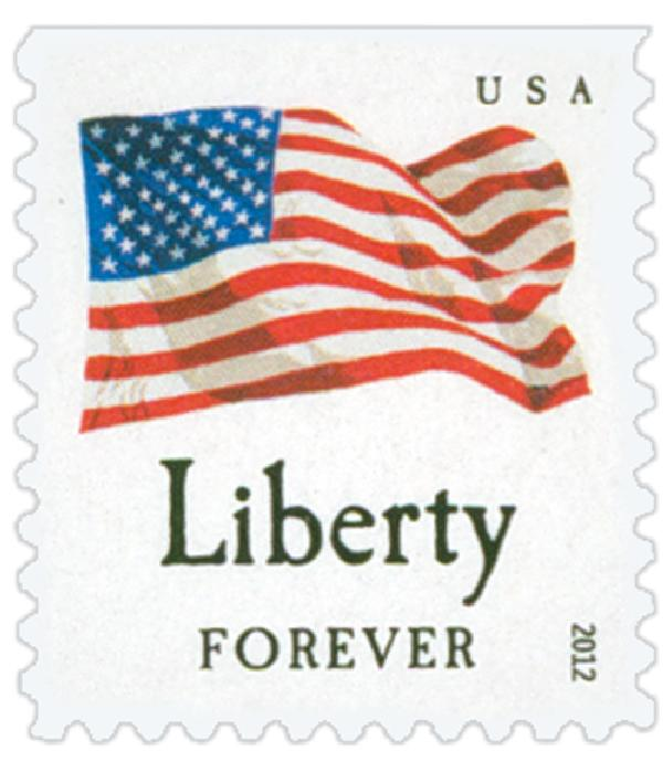 "2012 First-Class Forever Stamp - Flag and ""Liberty"" with Colored Dots in Star (Ashton Potter)"