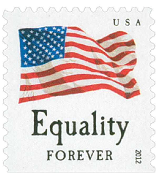 "2012 First-Class Forever Stamp - Flag and ""Equality"" with Colored Dots in Star (Ashton Potter)"
