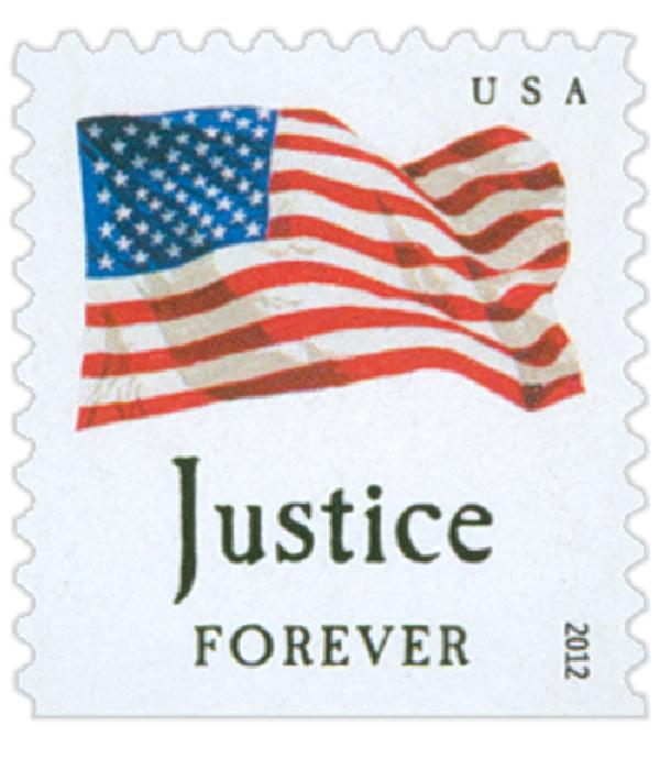 "2012 First-Class Forever Stamp - Flag and ""Justice"" with Colored Dots in Star (Ashton Potter)"