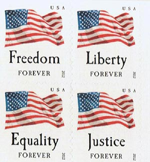 2012 First-Class Forever Stamps - Four Flags, APU, block of 4 stamps