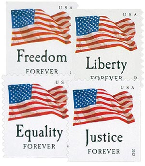 2012 First-Class Forever Stamp - U.S. Flags: Equality, Justice, Freedom and Liberty (Sennett Security Products, booklet)