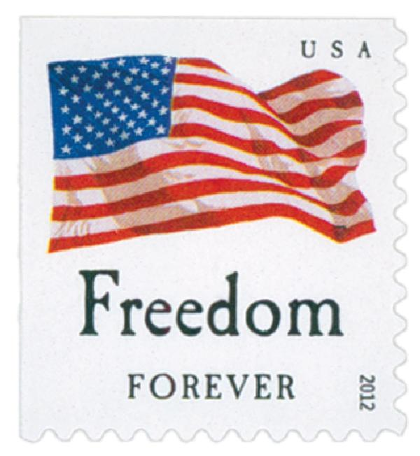 "2012 First-Class Forever Stamp - Flag and ""Freedom"" with Dark Dots in Star (Sennett Security Products)"