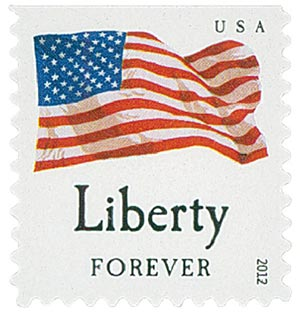 "2012 First-Class Forever Stamp - Flag and ""Liberty"" with Dark Dots in Star (Sennett Security Products)"