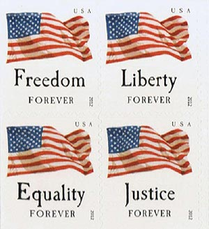 2012 First-Class Forever Stamps - Four Flags, SSP, block of 4 stamps