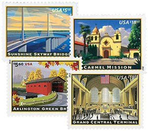 2012-13 Priority and Express Mail, collection of 4 stamps