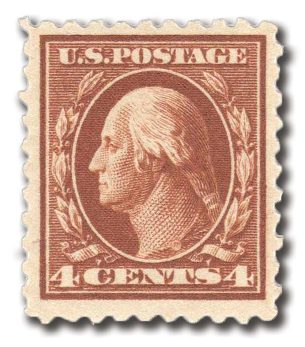 1916-17 4c Washington, orange brown, perf 10