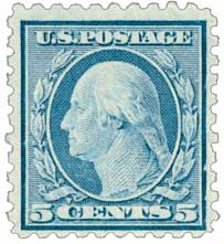1916-17 5c Washington, blue