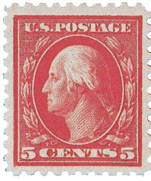 1916 5c Washington Error, carmine, perf 10