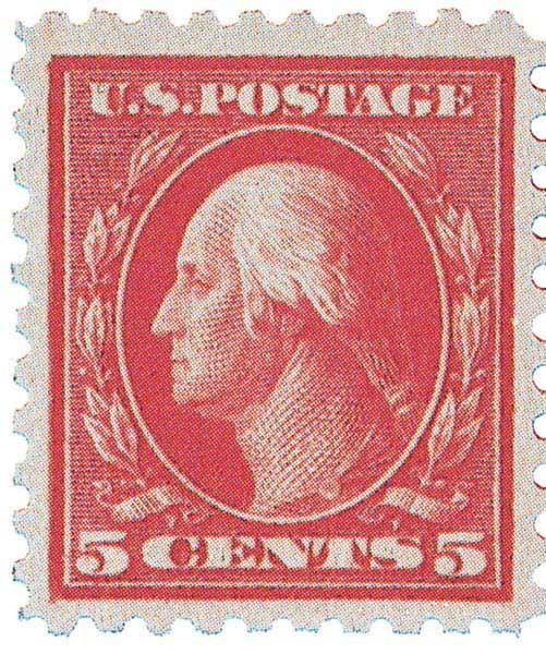 1916 5c Washington Error, carmine, perf 10