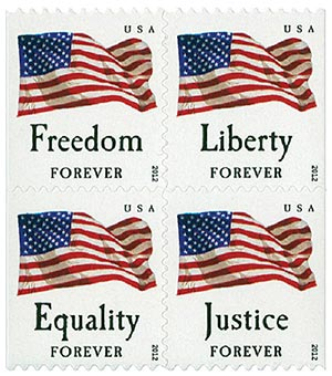 2012 First-Class Forever Stamp - U.S. Flags: Equality, Justice, Freedom and Liberty (Avery Dennison, booklet)