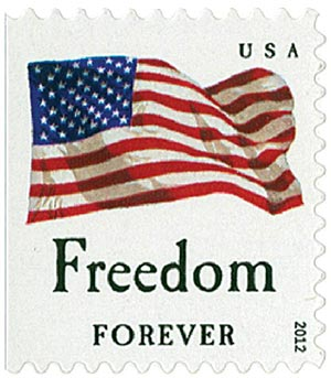 """2012 First-Class Forever Stamp - Flag and """"Freedom"""" (Avery Dennison)"""
