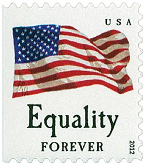 "2012 First-Class Forever Stamp - Flag and ""Equality"" (Avery Dennison)"