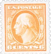 1916-17 6c Washington, red orange