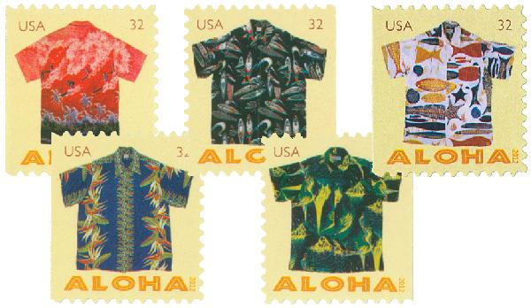 2012 32c Aloha Shirts, booklet stamps