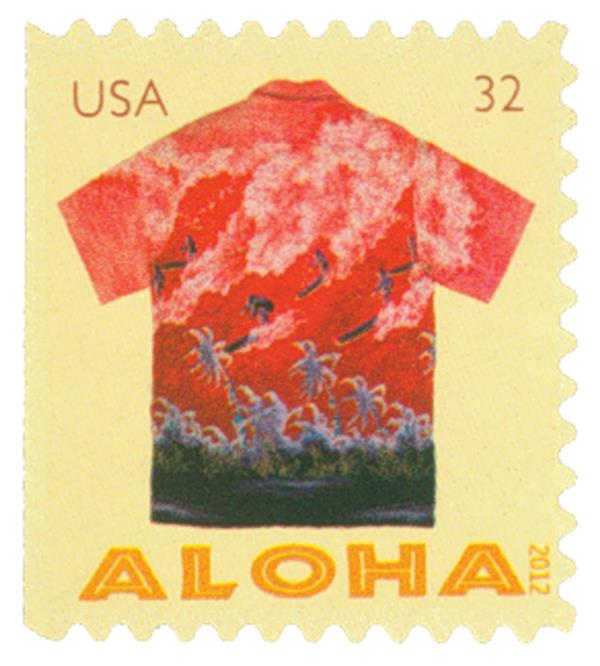 2012 32c Aloha Shirts: Surfers and Palm Trees, booklet