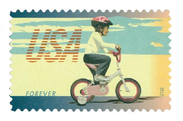 2012 First-Class Forever Stamp - Bicycling: Child Riding Bicycle with Training Wheels