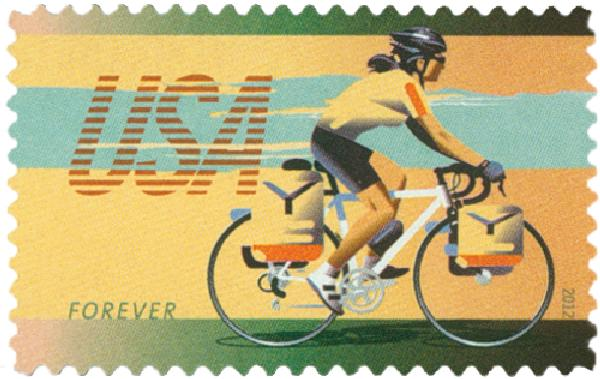 2012 First-Class Forever Stamp - Bicycling: Commuter Riding Bicycle with Panniers
