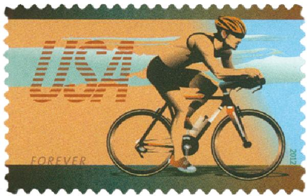 2012 First-Class Forever Stamp - Bicycling: Man Riding in a Road Race