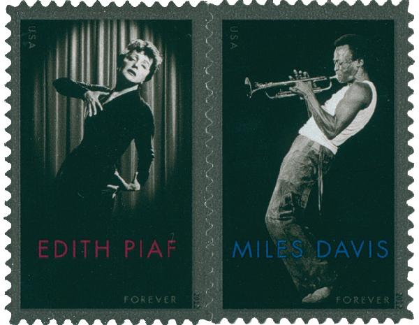 2012 First-Class Forever Stamp - Edith Piaf and Miles Davis