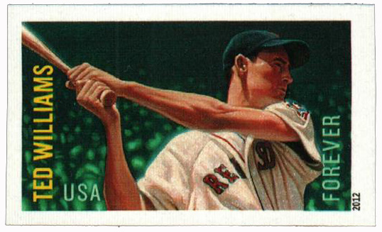2012 First-Class Forever Stamp - Imperforate Major League Baseball All-Stars: Ted Williams