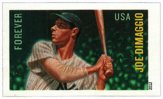 2012 First-Class Forever Stamp - Imperforate Major League Baseball All-Stars: Joe DiMaggio