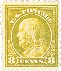 1916-17 8c Franklin, olive green