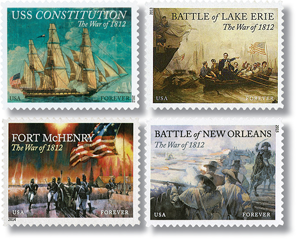2012-15 The War of 1812, set of 4 stamps