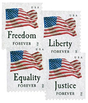 2012 First-Class Forever Stamp - U.S. Flags: Equality, Justice, Freedom and Liberty (ATM, booklet)