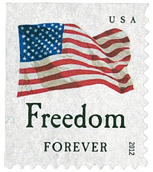 "2012 First-Class Forever Stamp - Flag and ""Freedom"" (Ashton Potter)"