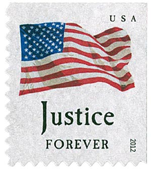 "2012 First-Class Forever Stamp - Flag and ""Justice"" (Ashton Potter)"
