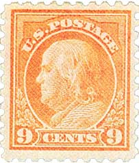 1916-17 9c Franklin, salmon red
