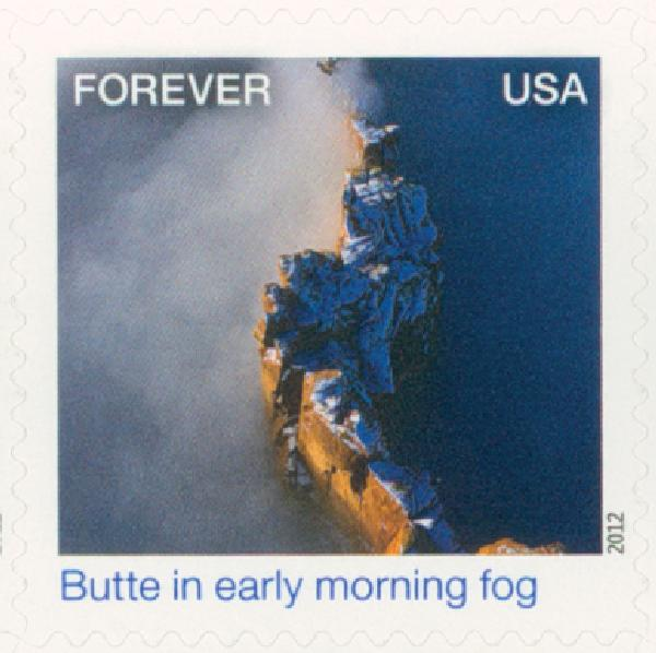 2012 First-Class Forever Stamp - Earthscapes: Butte in Early Morning Fog