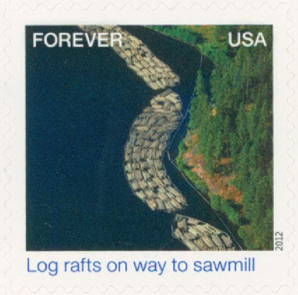 2012 First-Class Forever Stamp - Earthscapes: Log Rafts on Way to Sawmill