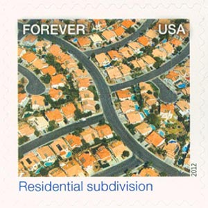 2012 First-Class Forever Stamp - Earthscapes: Residential Subdivision