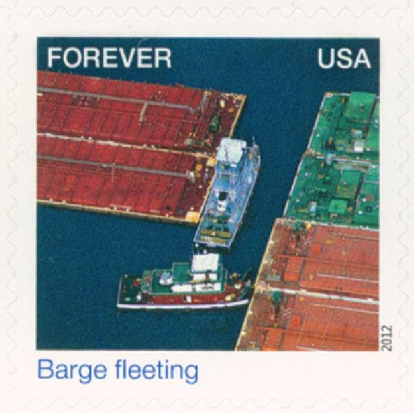 2012 First-Class Forever Stamp - Earthscapes: Barge Fleeting