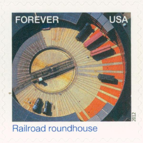 2012 First-Class Forever Stamp - Earthscapes: Railroad Roundhouse