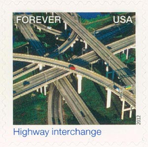 2012 First-Class Forever Stamp - Earthscapes: Highway Interchange