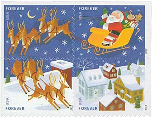 2012 First-Class Forever Stamp - Contemporary Christmas: Santa Flying over Town in Sleigh with Reindeer