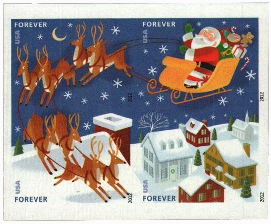 2012 First-Class Forever Stamp - Imperforate Contemporary Christmas: Santa Flying over Town in Sleigh with Reindeer