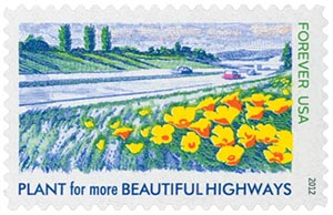 2012 First-Class Forever Stamp - Lady Bird Johnson Centennial: Plant for More Beautiful Highways