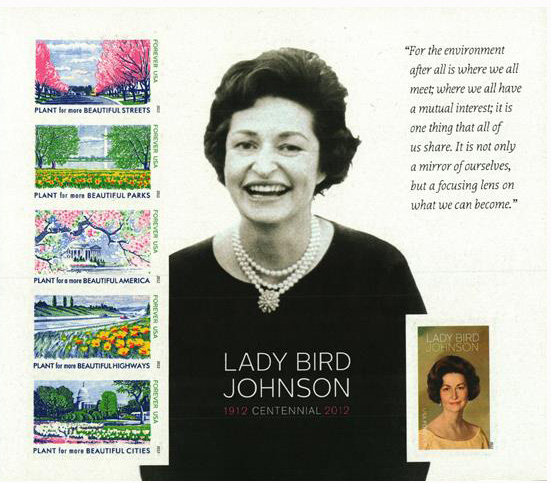 2012 First-Class Forever Stamp - Imperforate Lady Bird Johnson Centennial
