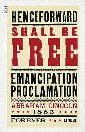 2013 First-Class Forever Stamp - Imperforate Emancipation Proclamation