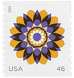 2013 46c Kaleidoscope Flowers: Yellow and Purple