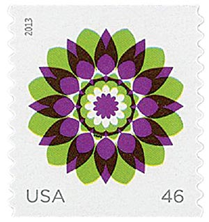 2013 46c Kaleidoscope Flowers: Green and Purple