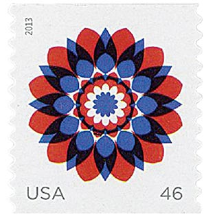 2013 46c Kaleidoscope Flowers: Red and Blue